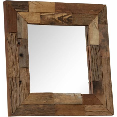 Hommoo Mirror Solid Sleeper Wood 50x50 cm