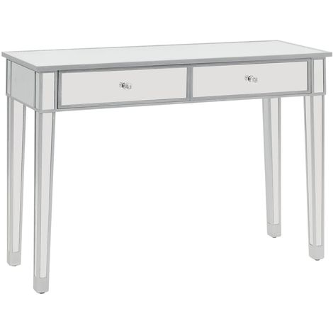 Hommoo Mirrored Console Table MDF and Glass 106.5x38x76.5 cm VD12585