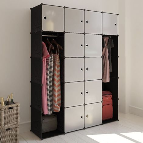 Hommoo Modular Cabinet 14 Compartments Black and White 37x146x180.5 cm VD08230