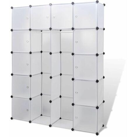 Hommoo Modular Cabinet 14 Compartments White 37x146x180.5 cm QAH08231