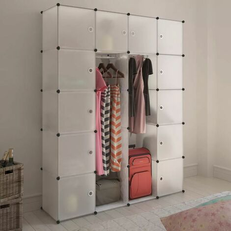 Hommoo Modular Cabinet 14 Compartments White 37x146x180.5 cm VD08231