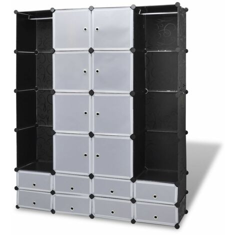 Hommoo Modular Cabinet 18 Compartments Black and White 37x146x180.5 cm QAH08232