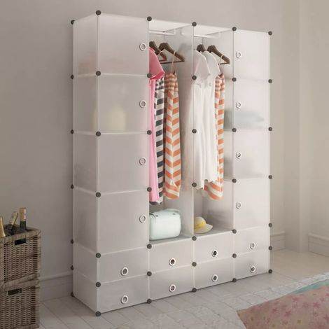 Hommoo Modular Cabinet 18 Compartments White 37x146x180.5 cm VD08233