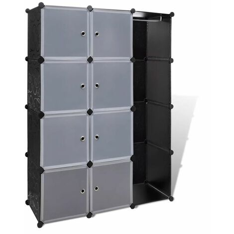 Hommoo Modular Cabinet 9 Compartments 37x115x150 cm Black and White QAH08228