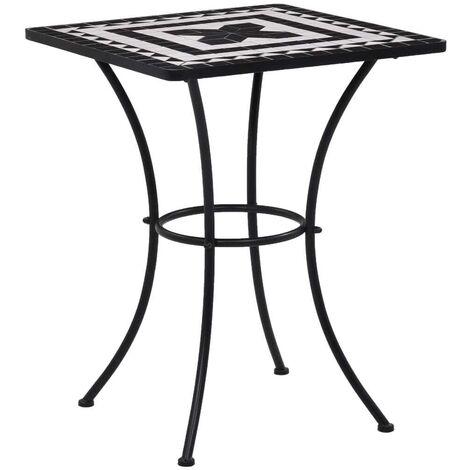 Hommoo Mosaic Bistro Table Black and White 60 cm Ceramic