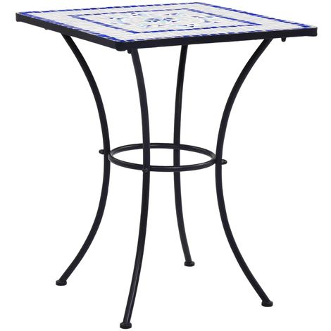Hommoo Mosaic Bistro Table Blue and White 60 cm Ceramic