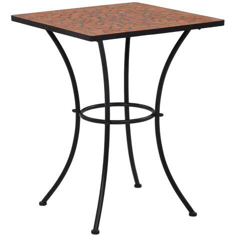 Hommoo Mosaic Bistro Table Terracotta 60 cm Ceramic