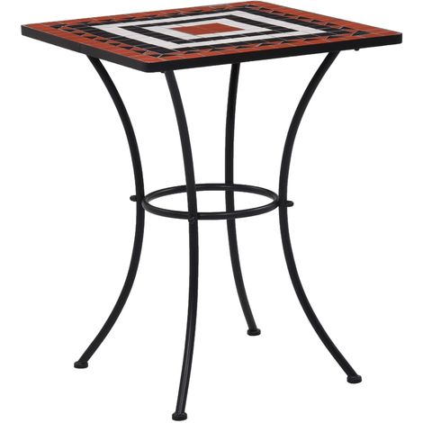 Hommoo Mosaic Bistro Table Terracotta and White 60 cm Ceramic