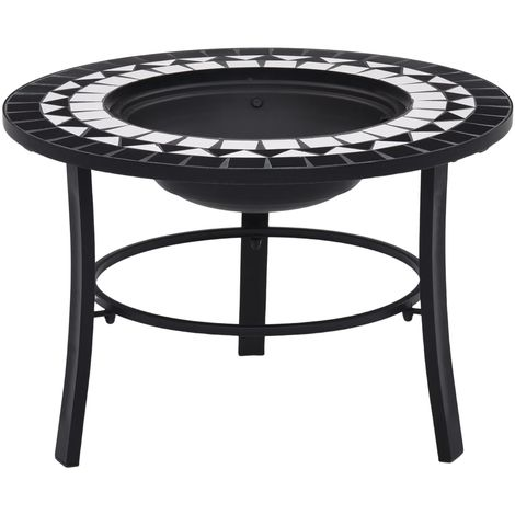 Hommoo Mosaic Fire Pit Black and White 68cm Ceramic