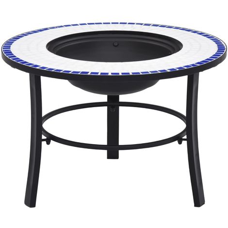 Hommoo Mosaic Fire Pit Blue and White 68cm Ceramic