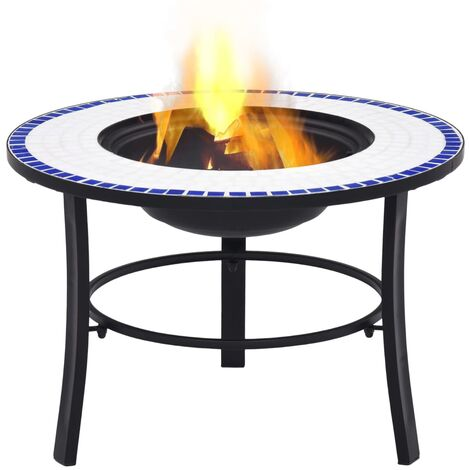 Hommoo Mosaic Fire Pit Blue and White 68cm Ceramic QAH30082