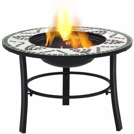 Hommoo Mosaic Fire Pit Green 68cm Ceramic QAH30084