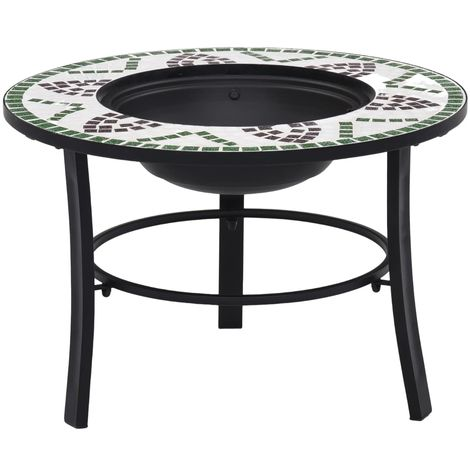Hommoo Mosaic Fire Pit Green 68cm Ceramic VD30084
