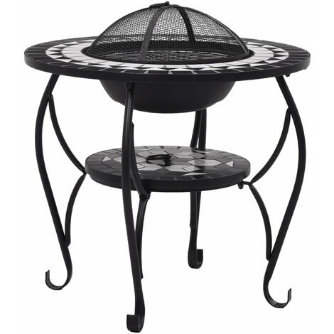 Hommoo Mosaic Fire Pit Table Black and White 68 cm Ceramic QAH30087