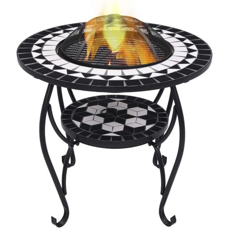 Hommoo Mosaic Fire Pit Table Black and White 68 cm Ceramic VD30087