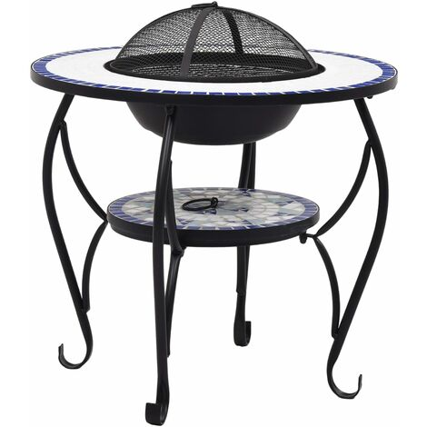 Hommoo Mosaic Fire Pit Table Blue and White 68 cm Ceramic QAH30086