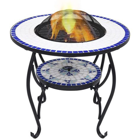Hommoo Mosaic Fire Pit Table Blue and White 68 cm Ceramic VD30086