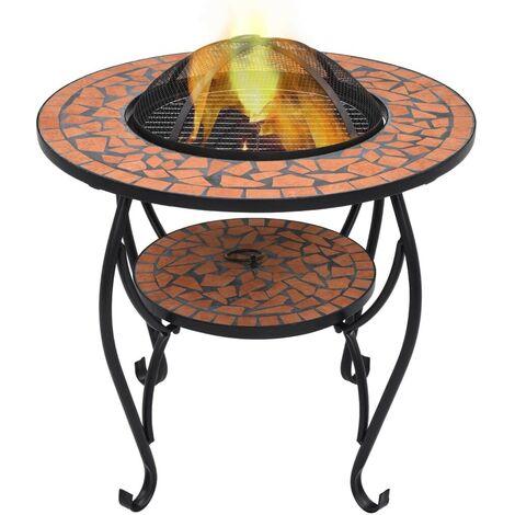 Hommoo Mosaic Fire Pit Table Terracotta 68 cm Ceramic