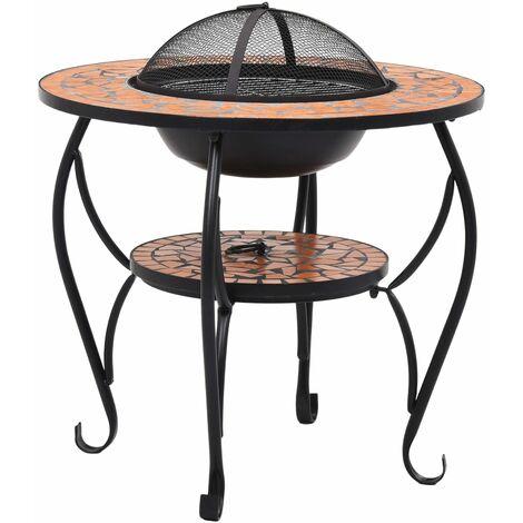 Hommoo Mosaic Fire Pit Table Terracotta 68 cm Ceramic QAH30085