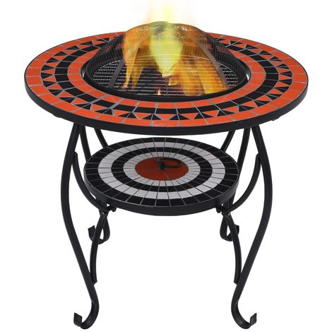 Hommoo Mosaic Fire Pit Table Terracotta and White 68 cm Ceramic