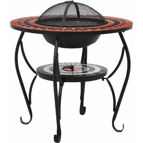 Hommoo Mosaic Fire Pit Table Terracotta and White 68 cm Ceramic QAH30088