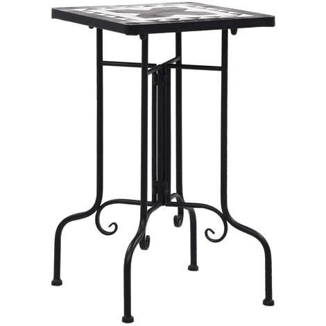 Hommoo Mosaic Side Table Black and White Ceramic
