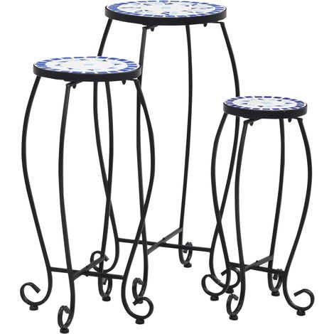 Hommoo Mosaic Tables 3 pcs Blue and White Ceramic