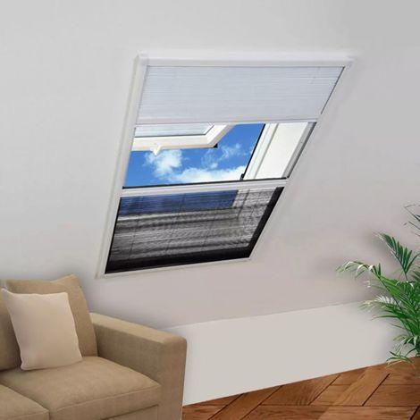 Hommoo Mosquitera plisada aluminio 160 x 110 cm con toldo
