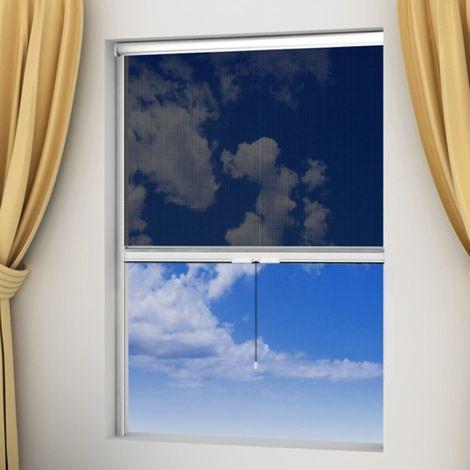 Hommoo Moustiquaire à rouleau pour fenêtres Blanc 140 x 170 cm