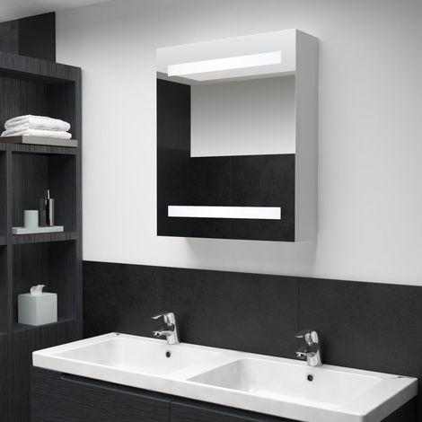 Hommoo Mueble de cuarto de baño con espejo LED 50x14x60 cm