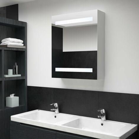 Hommoo Mueble de cuarto de baño con espejo LED 50x14x60 cm HAXD25412