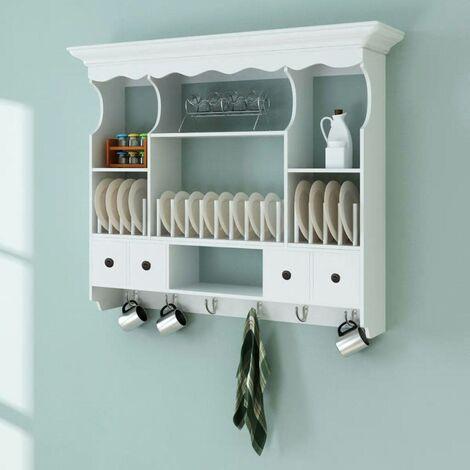 Hommoo Mueble de pared para cocina de madera blanco