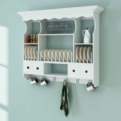 Hommoo Mueble de pared para cocina de madera blanco HAXD08722