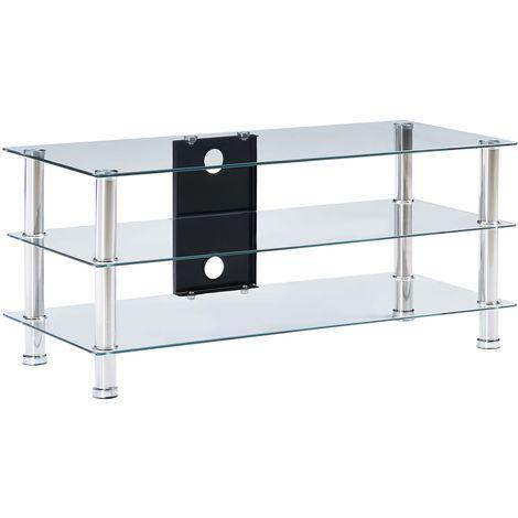 Hommoo Mueble de televisor vidrio templado transparente 90x40x40 cm
