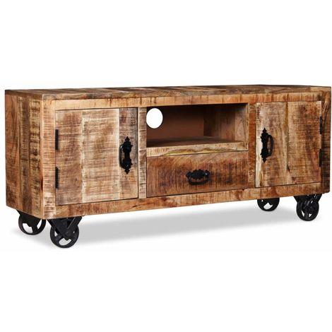 Hommoo Mueble para la TV de madera de mango rugosa 120x30x50 cm
