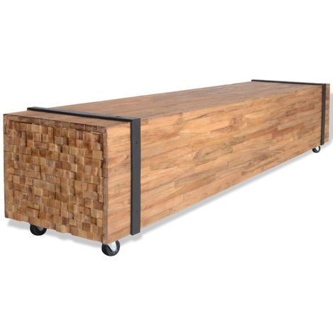 Hommoo Mueble para la TV de madera de teca 150x30x30 cm