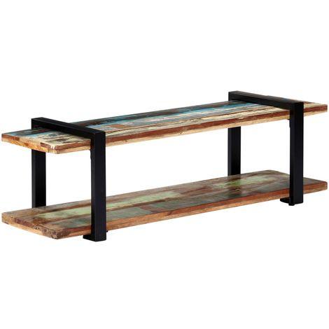 Hommoo Mueble para la TV de madera maciza reciclada 130x40x40 cm