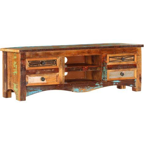 Hommoo Mueble para la TV madera maciz reciclada 120x30x40 cm