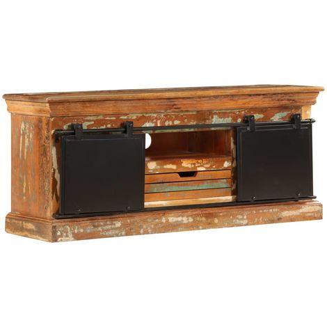 Hommoo Mueble para la TV madera maciza reciclada 110x30x45 cm