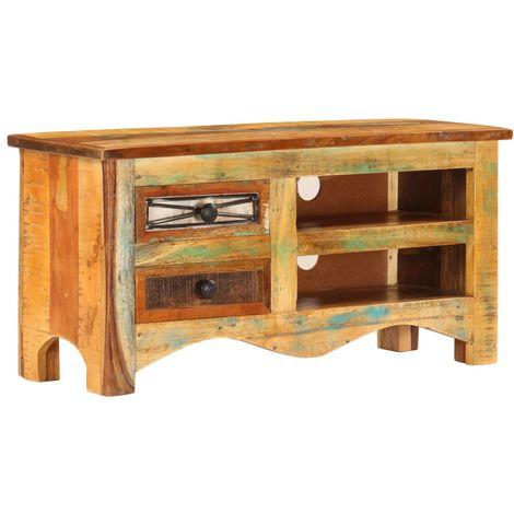 Hommoo Mueble para la TV madera maciza reciclada 80x30x40 cm