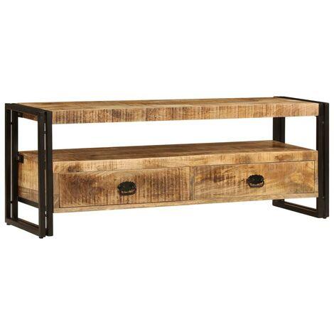 Hommoo Mueble para TV 120x30x45 cm madera maciza de mango
