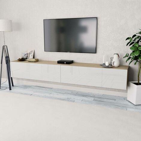 Hommoo Mueble para TV aglomerado roble y blanco con brillo 2 piezas