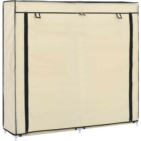 Hommoo Mueble zapatero con funda de tela color crema 115x28x110 cm
