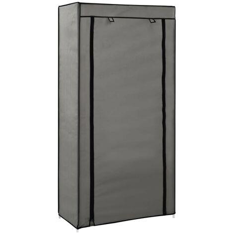 Hommoo Mueble zapatero de tela con funda gris 58x28x106 cm