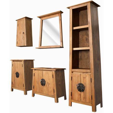 Hommoo Muebles de cuarto de baño madera reciclada pino maciza 5 pzas
