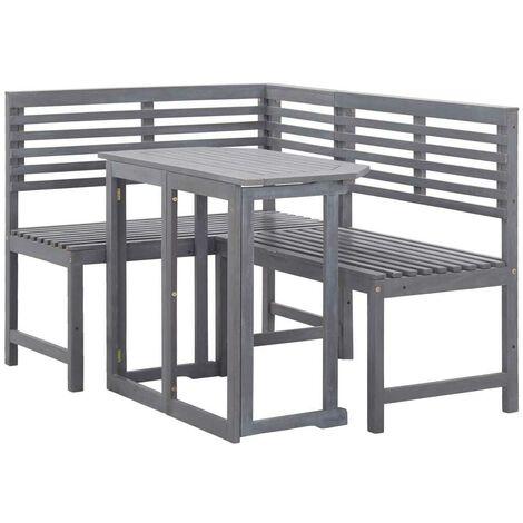 Hommoo Muebles de esquina para balcón 2 piezas madera maciza de acacia