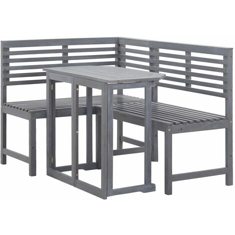 Hommoo Muebles de esquina para balcón 2 piezas madera maciza de acacia HAXD45463