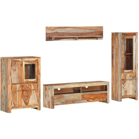 Hommoo Muebles de salón TV 4 piezas madera maciza Sheesham