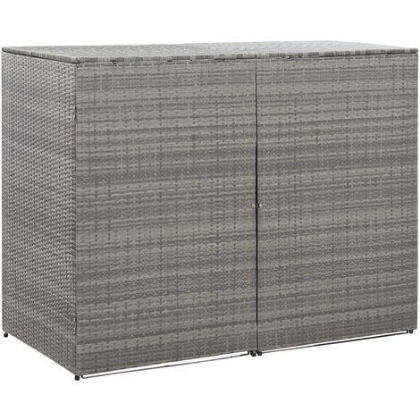 Hommoo Mülltonnenbox für 2 Tonnen Anthrazit 153x78x120 cm Poly Rattan DDH45638