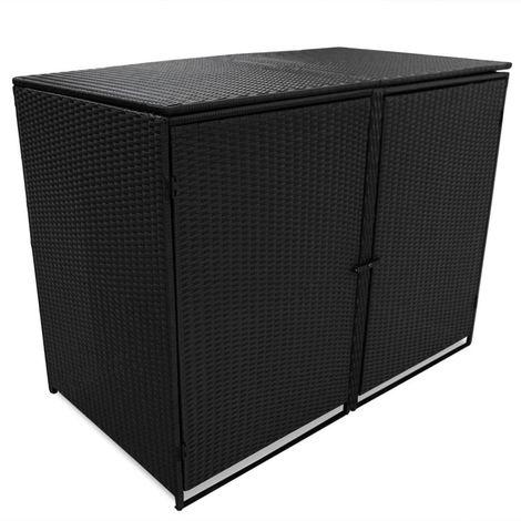 Hommoo Mülltonnenbox für 2 Tonnen Poly Rattan Schwarz 148x80x111 cm VD28113